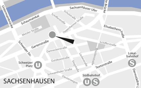 Lageplan GFS Beratung Büro Frankfurt, Sachsenhausen